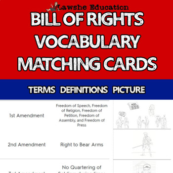 Bill of Rights Vocabulary Matching Cards with Pictures