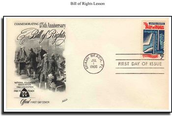 Bill of Rights Warm Up/Review Lesson Using First Day Covers