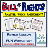 """Bill of Rights """"Which Amendment?"""" Lesson & Worksheet ~ Fun"""