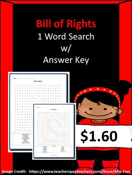 Bill of Rights Word Search w/ Answer Key