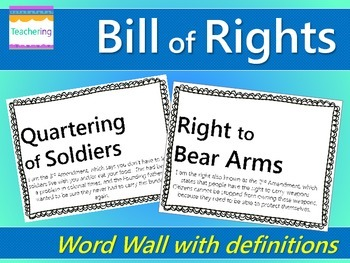 Bill of Rights Word Wall with Definitions {10 Amendments}