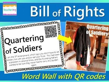 Bill of Rights Word Wall with QR Codes {10 Amendments}