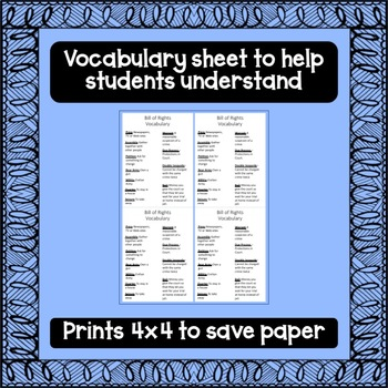 Bill of Rights Worksheets and Cheat Sheet