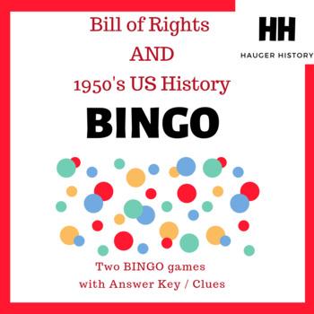 Bill of Rights and 27 Amendment Constitution Bingo w US History 1950s Bonus Game