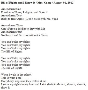 Bill of Rights and I Know It Lyrics