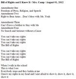 Bill of Rights and I Know It Lyrics