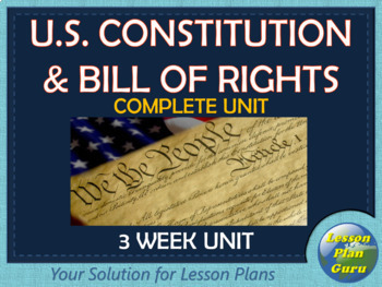 Bill of Rights and U.S. Constitution Complete Unit | Distance Learning!