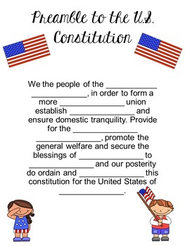 Bill of Rights for Kids and Fill in the Blank Preamble