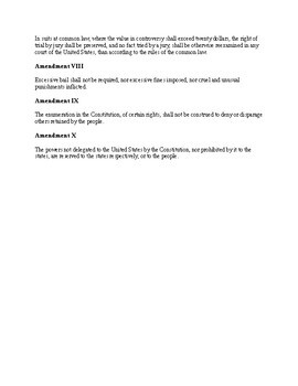 Bill of Rights worksheet for U.S. History ; Summary of Amendments / graphic org