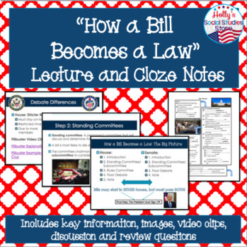 Bill to Law Bundle- Lecture, Cloze Notes, Mock Congress Simulation, and Review