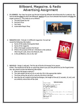 Billboard, Magazine, & Radio Advertising Assignment