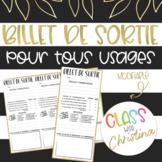 Billet de sortie pour tous usages / French Exit Ticket for