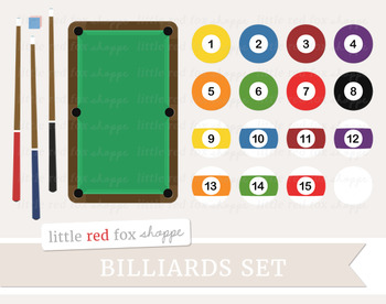 Billiards Pool Set Clipart; Game, Table, Ball, Cue