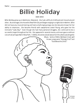 Billie Holiday Biography, Coloring Page, and Word Search