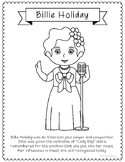 Billie Holiday Coloring Page Craft or Poster with Mini Biography, Singer