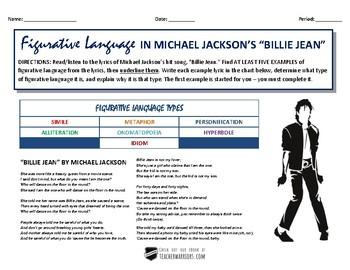 Billie Jean (by Michael Jackson) FIGURATIVE LANGUAGE Activity