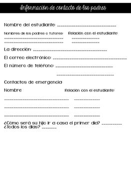 Bilingual Back-to-School Forms (English/Spanish)