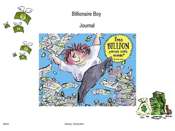 Billionaire Boy by David Walliams reading and writing journal