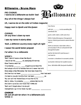 Billionaire - Bruno Mars Ft. Travie McCoy listening activity