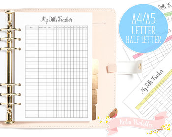 picture regarding Bill Printable named Charges Tracker Printable Planner Increase