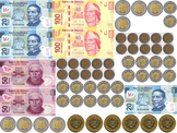 Bills and coins. PESO