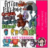 Dragons clip art - LINE ART- by Melonheadz