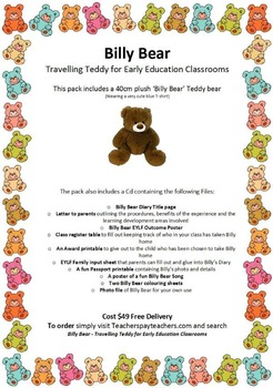 EYLF 'Billy Bear' Travelling Teddy for Early Education Classrooms