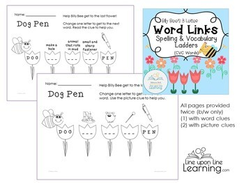 Spelling and Vocabulary Word Ladders BUNDLE (CVC, CVCe, and Blends/Digraphs)