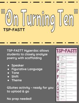 "Billy Collin's ""On Turning Ten"" TSP-FASTT Close Analysis Hyperdoc"