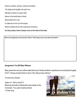 "Billy Collins 9/11 Poetry Explication Worksheet ""The Names"""