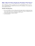 """Billy Collins 9/11 Poetry Explication Worksheet """"The Names"""""""