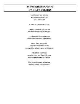 Billy Collins Poetry Introduction
