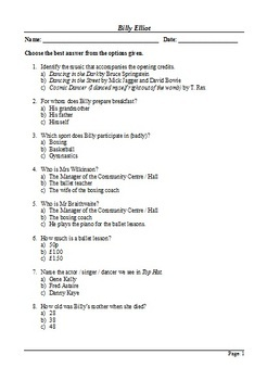 Billy Elliot - Active Learning Resources Bundle