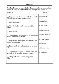 Billy Elliot - Character Matching Exercises