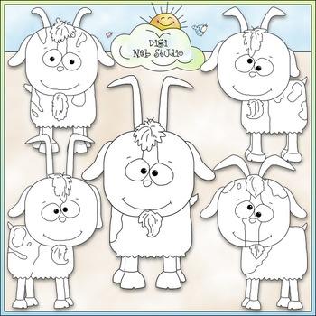 Billy Goats Clip Art - Animals Clip Art - CU Clip Art & B&W