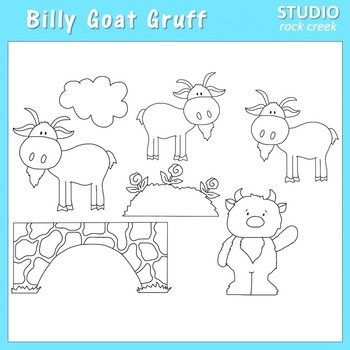 Billy Goats Gruff Line Drawing Clip Art  C. Seslar