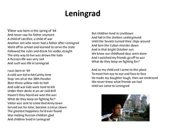Billy Joel: Leningrad - A Project on the Cold War