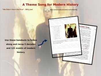 """Billy Joel's """"We Didn't Start the Fire"""" - 121 History References (PPT & Handout)"""