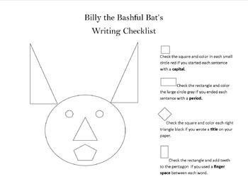 Billy The Bashful Bat's Writing Checklist