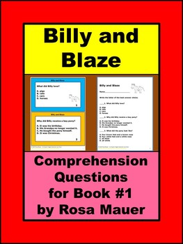 Billy and Blaze Comprehension Questions for Book #1