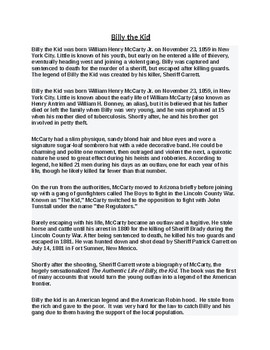 Billy the Kid Article and Reading Comprehension assignment