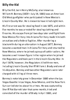 Billy the Kid Handout
