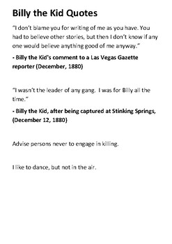 Billy the Kid Timeline and Quotes