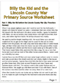 Billy the Kid and the Lincoln County War Primary Source Worksheet