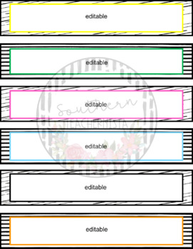 Editable Bin Labels - Colorful with Black and White Background