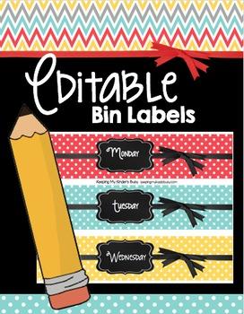 Bin Labels - EDITABLE - Chalkboard Tags - File - Centers -