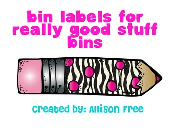 Bin Labels For Really Good Stuff Paper Bins