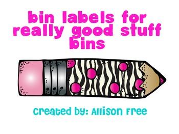 Bin Labels For Really Good Stuff Paper Bins