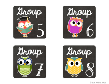 Book Bin Labels for Small Groups - Owl theme