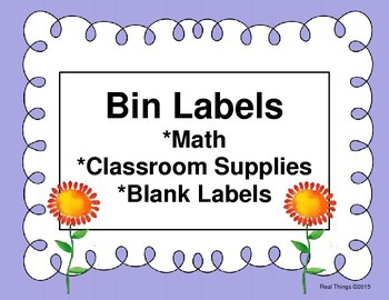 Bin Labels for Supplies-Periwinkle  (Flash Freebie)
